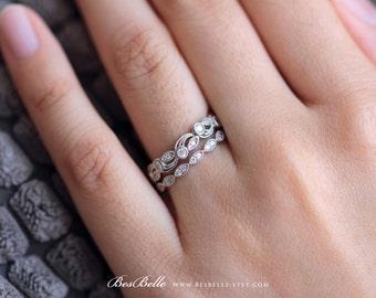 0.52 ct.tw Leaf & Vine Art Deco Half Eternity Band Set Ring-Wedding Band Set Ring-Milgrain Band Ring-Solid Sterling Silver [65222-2]