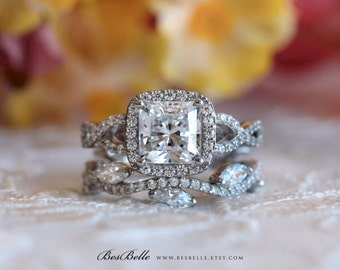 2.81 ct.tw Art Deco Bridal Set Ring-Vintage Twisted Wedding Ring-Cushion Cut Diamond Center-Elegant Set Ring-Solid Sterling Silver [65298-2]