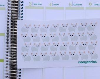 White Munchkin Kitten Stickers