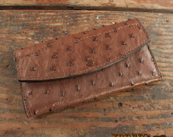 Women's Brown Ostrich Leather Clutch Handbag Wallet - Amish Made to Order
