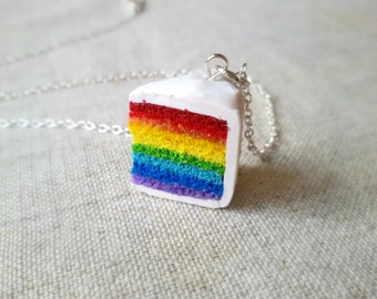 Rainbow cake pendant/ keychain, polymer clay charm, miniature food jewelry, rainbow necklace, gay pride jewelry, friend gift