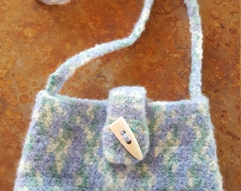 Handmade, Crocheted Wool Purse, felted