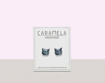British Shorthair Grey Cat stud earrings Cute Grey Cat Kitten Stud Earrings Gift idea