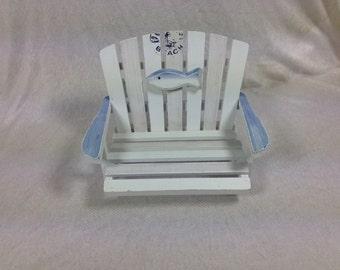 Blue White Doll Beach Chair Beautiful Wood And Fabric Doll Chair Doll Supplies Doll Furniture 8x6x5.75 Inches