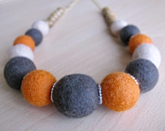 Felt Jewelry Necklace Wet Felted Neecklace Ecofriendly Necklace Wool Necklace Elegant Felt Exclusive Necklace Orange Brown Necklace