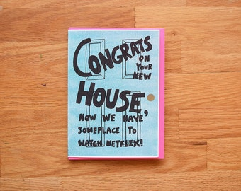 Netflix funny new house card, Netflix and chill, funny new home card, funny congratulations card, funny congrats card, funny moving card