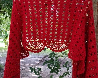 Crimson Crochet Shawl/Prayer Shawl