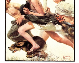 "No Swimming ""poster size""  Post cover from June 4, 1921. Painted by Norman Rockwell"