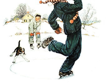 Four Seasons Calendar Grandpa and Me, Winter 1948 painted by Norman Rockwell