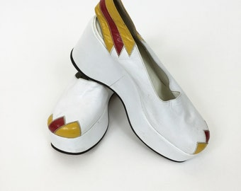 Vintage 1970s white and yellow leather platform wedge shoes Deadstock - size 38
