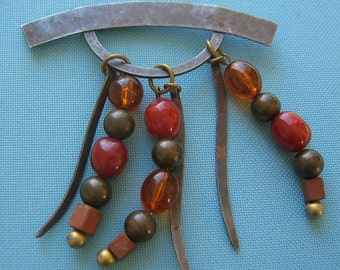 Signed Kate Hines Dangling Bead Brooch