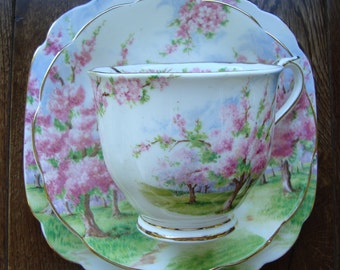 Blossom Time 3 Piece - Royal Albert Bone China England - Scenic - Trees with Pink Apple Blossoms -Starter/Replacement Pieces