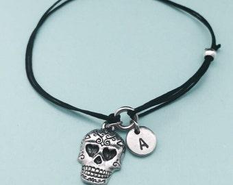 Sugar skull cord bracelet, sugar skull charm bracelet, adjustable bracelet, charm bracelet, personalized bracelet, initial, monogram
