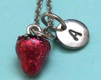 Strawberry necklace, strawberry charm, food necklace, personalized necklace, initial necklace, initial charm, monogram, fruit jewelry, food