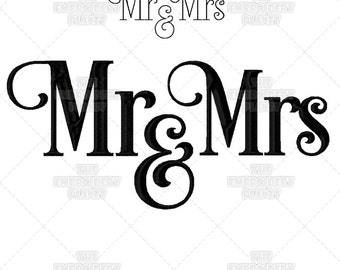 mr and mrs machine embroidery designs