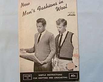Booklet 'Men's Fashions in Wool', 1962 Knitting Patterns, Sweaters, Socks, Scarf