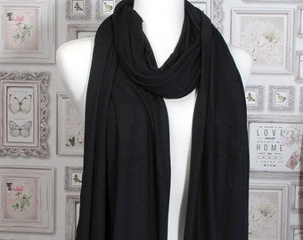 Black Plain Jersey Scarf / Summer Scarf / Autumn Scarf / Gift for Her / Womens Scarves / Fall Fashion Accessory / Mothers Day Fashion Scarf