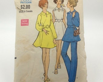 Vintage Vogue Sewing Pattern 7796 Misses' One-Piece Mini Dress or Tunic and Pants, Size 10, Bust 32 1/2, Hip 34 1/2