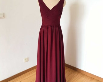 V-neck V-back Burgundy Chiffon Long Bridesmaid Dress