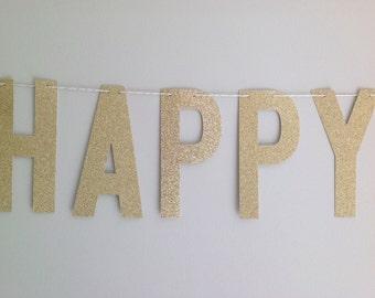HAPPY ANNIVERSARY BANNER | Silver Glitter Happy Anniversary Banner | Happy Anniversary Sign, 25th Anniversary Banner | 50th Anniversary