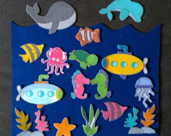 Ocean Felt Board Set // Flannel Board // Imagination // Children // Pretend Play // Sea Life//  Ocean