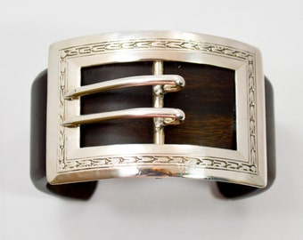 Vintage Chic Cuff Bracelet With Sterling Silver Art Deco Buckle Conversion