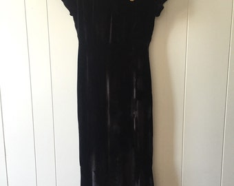 1920s/1930s Black Velvet and Lace Gown