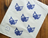Navy Blue Pickle Birman Ragdoll Cat Vintage Calico Drawstring Prospectors Pouch. 33 x 29cm.