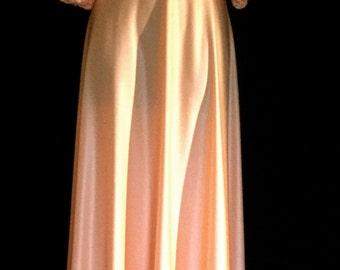 70's  Peach Crochet Maxi Gown                VG150