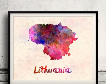 Lithuania - Map in watercolor - Fine Art Print Glicee Poster Decor Home Gift Illustration Wall Art Countries Colorful - SKU 1700