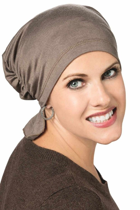 gathered scarf beanie chemo head covering by headcoversunlimited. Black Bedroom Furniture Sets. Home Design Ideas