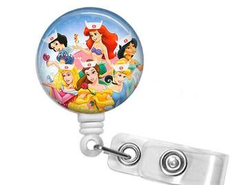 Princess Nurses , Badge Reel, Retractable ID Badge Holder, RN, LPN, Belle, Aurora, Ariel, Cinderella, Jasmine, Snow White