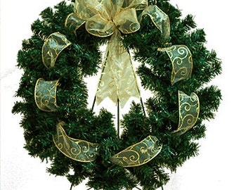 Christmas Wreath With Gold Ribbon and Bow - Cemetery Wreath (WR1703)