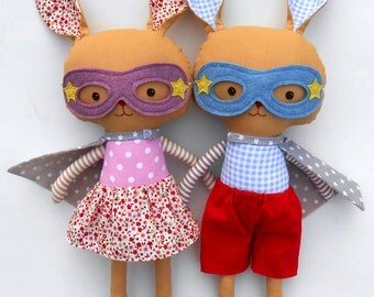 Easter gift for kids, easter bunny rabbits toys as superheroes, stuffed animal gift for toddlers, twin gift for easter