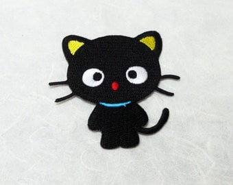 Black Cat Iron on Patch(L1)- Black Cat Cartoon Applique Embroidered Iron on Patch - Size 7.2x7.2 cm