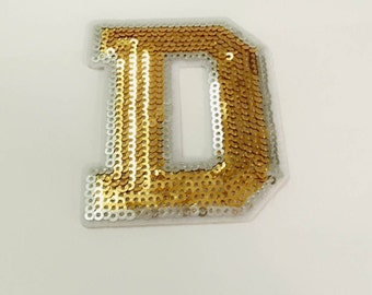 Gold Alphabet Letter D Iron on Patch - Gold Sequin D, Glitter Applique Embroidered Iron on Patch - Size 6.0x7.5 cm#T2