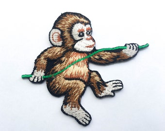 Monkey Iron On Patch (M) -  Monkey Cartoon Applique Embroidered Iron on Patch Size 7.9x7.1 cm