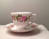 Tea Cup Candle Infused with Lime, Basil and Mandarin Fragrance Oil with Soy Wax Poured into a Colclough Rose Tea Cup and Matching Saucer