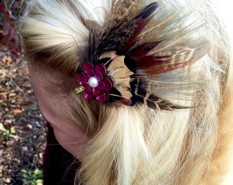 Pheasant Feather Hair Clip with Red Flower Jewel