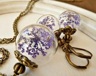 """Jwelry- Set """"Dill Flower"""" Purple"""