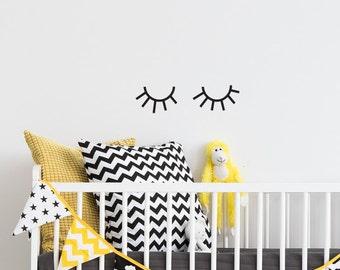 Sleepy eyes wall decal, sleepy eyes decor, sleepy eyes, Sleepy eyes vinyl wall decal sticker, eyelashes, baby nursery, kids room  #091