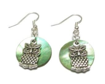 Owl Silver Bird Earrings, Wildlife Drop Pendant Earrings, Pale Green Natural Shell Earrings, Sterling Silver Earrings, Charm Drop Earrings