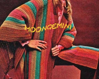 Crochet Poncho Cape Boho Ruana Serape Shawl Vintage Crochet Pattern Instant Download