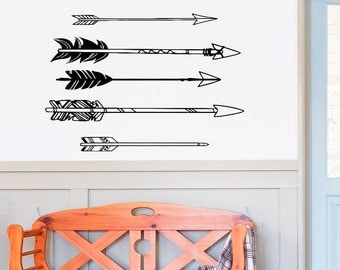 Tribal Arrow Wall Decal Vinyl Stickers- Navaho Arrow Wall Decor- Simple Indie Arrow Wall Art- Tribal Wall Art Bedroom Dorm Living Room C051