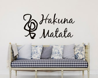 Wall Decal Quote Hakuna Matata Sign Words Vinyl Lettering Wall Quotes Bedroom Nursery Children Kids Baby Room Wall Art Home Decor Q199