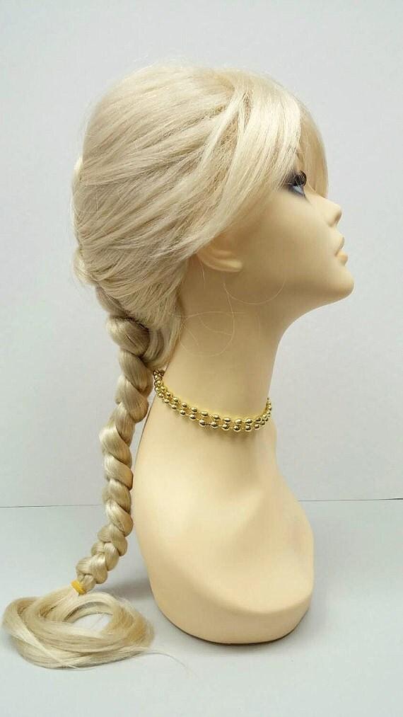 Long 17 Inch Blonde French Braid Wig Elsa Style By