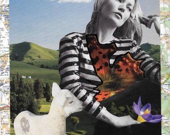 "Canvas art, Kate Moss art, original collage art, canvas wall art, mixed media collage art, surreal art, one of a kind art - ""Open your mind"""