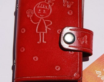 Leather card wallet, Credit Card holder, credit card organiser, handmade, red leather, girl, cat, butterfly 014
