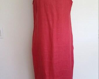 Harve Bernard dress, rose dress, linen dress, shift dress, M, minimalist dress, english rose dress, summer dress, pink dress