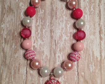 Chunky Bubblegum Pink Princess Cinderella Necklace with Crystal Carriage Pendant ~ Toddler Photo Prop